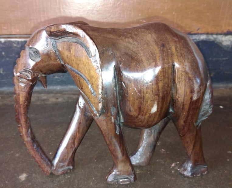 Large Wooden hand curved Elephants figurine